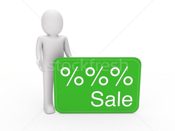 3d человек продажи карт зеленый подарок процент Сток-фото © dariusl