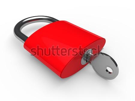 3D kłódki różowy kluczowych bezpieczeństwa blokady Zdjęcia stock © dariusl