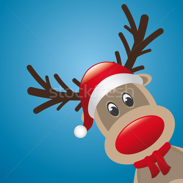 reindeer red nose and hat scarf Stock photo © dariusl