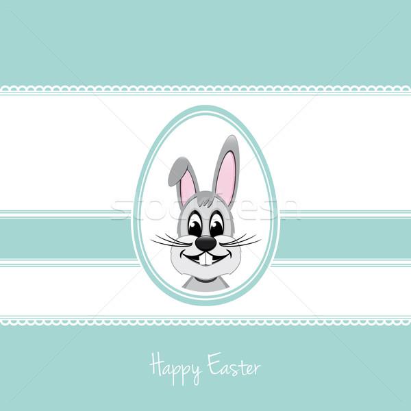 happy easter bunny egg blue background Stock photo © dariusl