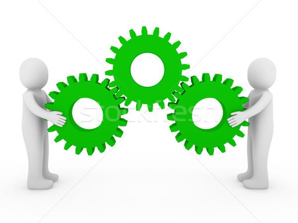 3d human gear machine green Stock photo © dariusl