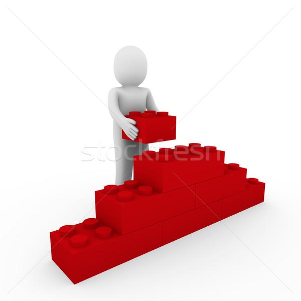 3d ember piros fal kő kocka puzzle Stock fotó © dariusl