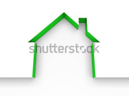 Photo stock: 3D · maison · vert · modèle · maison