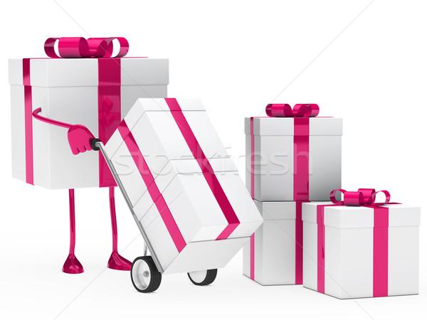 Foto d'archivio: Scatola · regalo · tenere · mano · camion · rosa · Natale