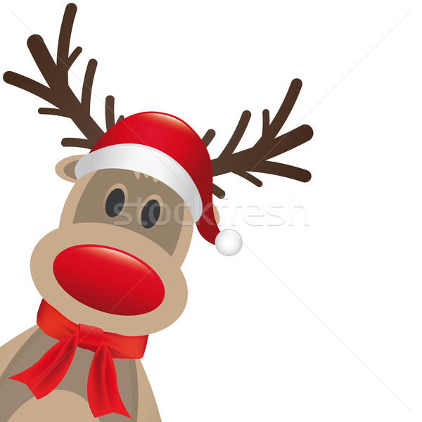 reindeer red nose hat and scarf Stock photo © dariusl