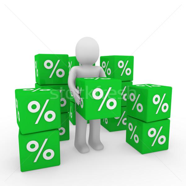 3d ember vásár kocka zöld siker százalék Stock fotó © dariusl