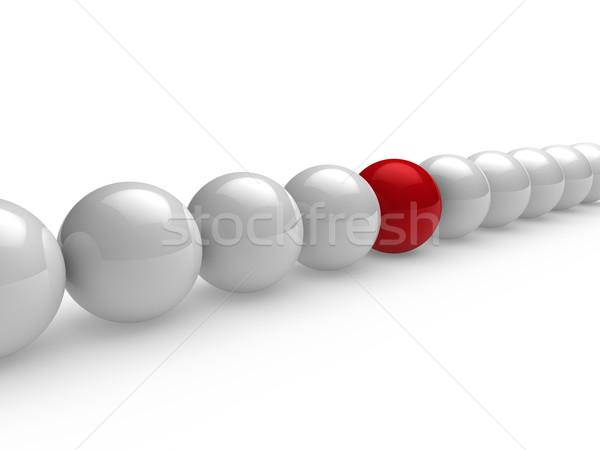 Ball 3d rouge blanche ligne réseau sphère Photo stock © dariusl