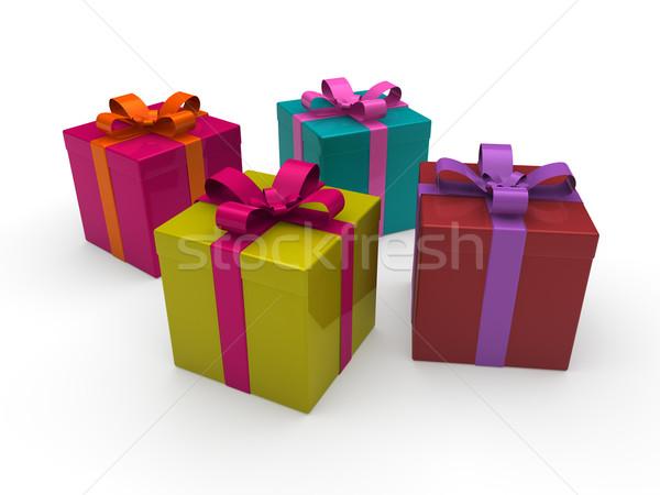 3d gift box color Stock photo © dariusl