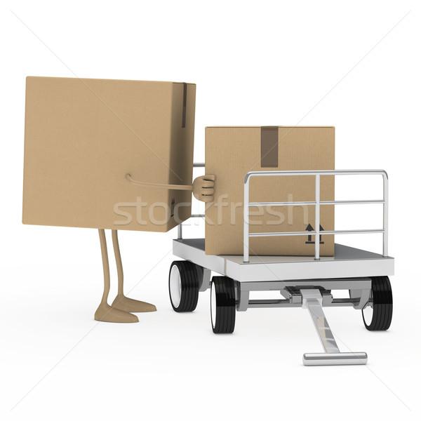 Pakiet rysunku załadować brązowy transportu usługi Zdjęcia stock © dariusl