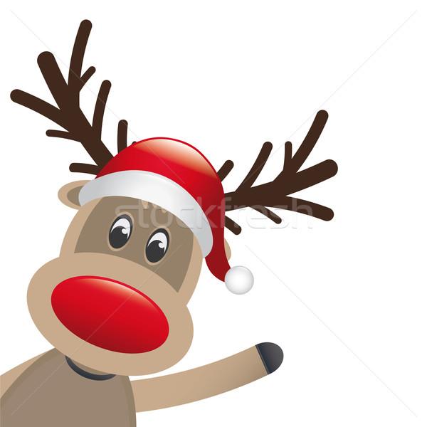 rudolph reindeer red nose wave Stock photo © dariusl