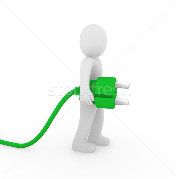 Foto stock: O · homem · 3d · verde · plugue · homem · cabo