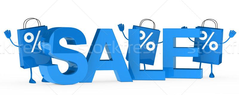 Niebieski sprzedaży torby fali za słowo Zdjęcia stock © dariusl