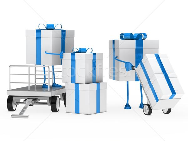 Сток-фото: шкатулке · синий · белый · рождения · подарок · Рождества