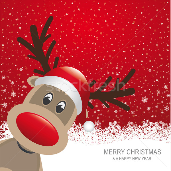 Stock photo: reindeer red hat snow snowflake background