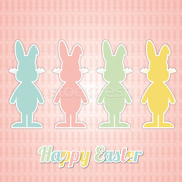 four happy easter bunny colorful Stock photo © dariusl