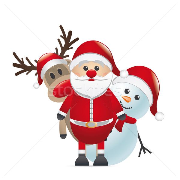 reindeer red nose santa claus snowman Stock photo © dariusl
