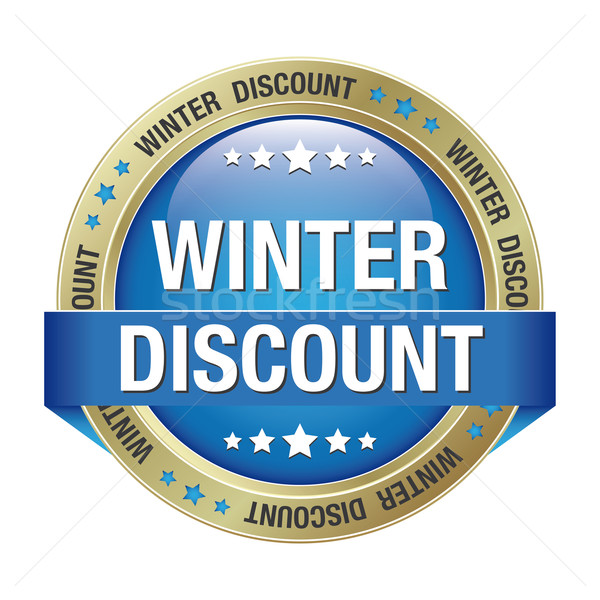winter discount blue gold button Stock photo © dariusl