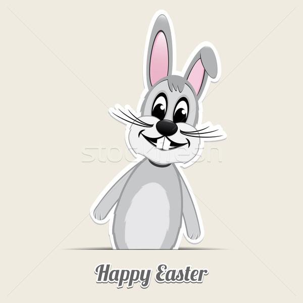 серый Пасхальный заяц Христос воскрес бежевый фон Bunny Сток-фото © dariusl