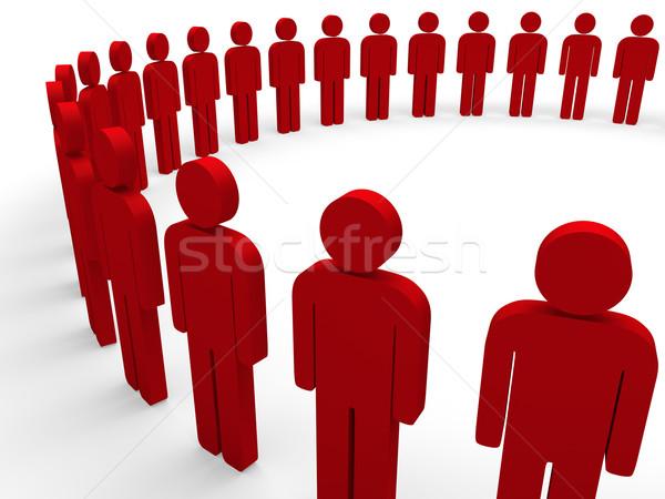 3D equipe círculo vermelho comunidade social Foto stock © dariusl