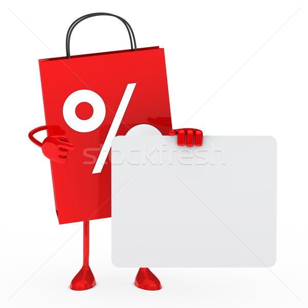 Vente sac tenir Billboard rouge blanche Photo stock © dariusl