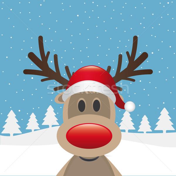ストックフォト: トナカイ · 赤 · 鼻 · サンタクロース · 帽子 · 背景