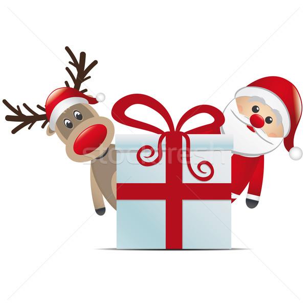 Ren geyiği noel baba Noel hediye kutusu kırmızı kutu Stok fotoğraf © dariusl
