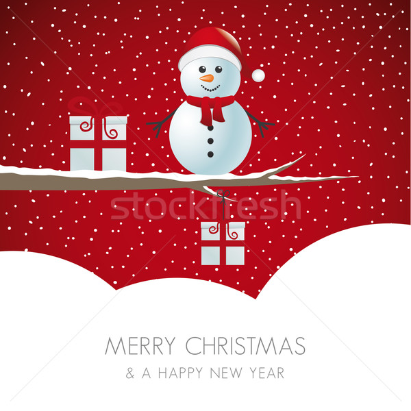 snowman on branch snowy winter landscape Stock photo © dariusl