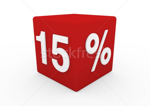 3D rojo venta cubo 15 aislado Foto stock © dariusl