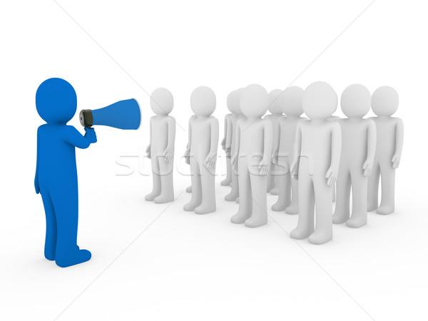 3D homens homem megafone equipe azul Foto stock © dariusl