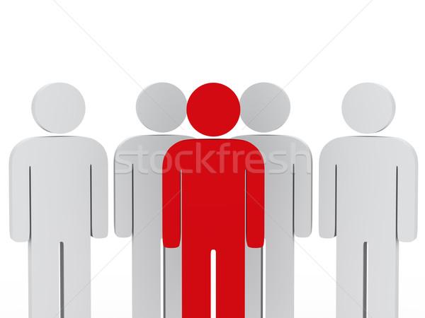 Líder da equipe vermelho equipe pessoas brancas branco Foto stock © dariusl