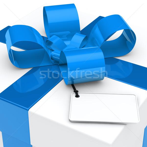 ギフトボックス 青 リボン クリスマス 白 カード ストックフォト © dariusl