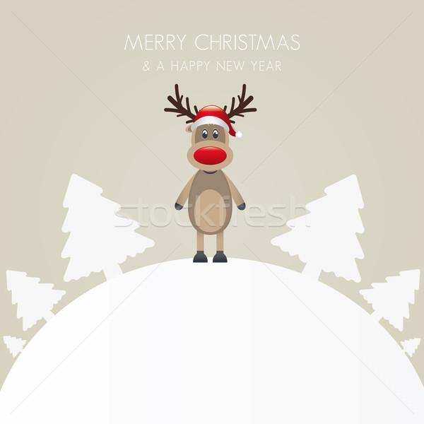 reindeer hat tree white background world Stock photo © dariusl