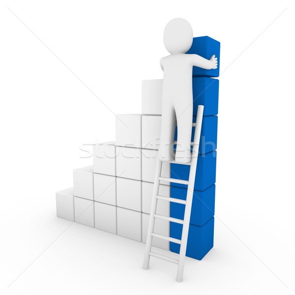 3d human cube ladder blue Stock photo © dariusl