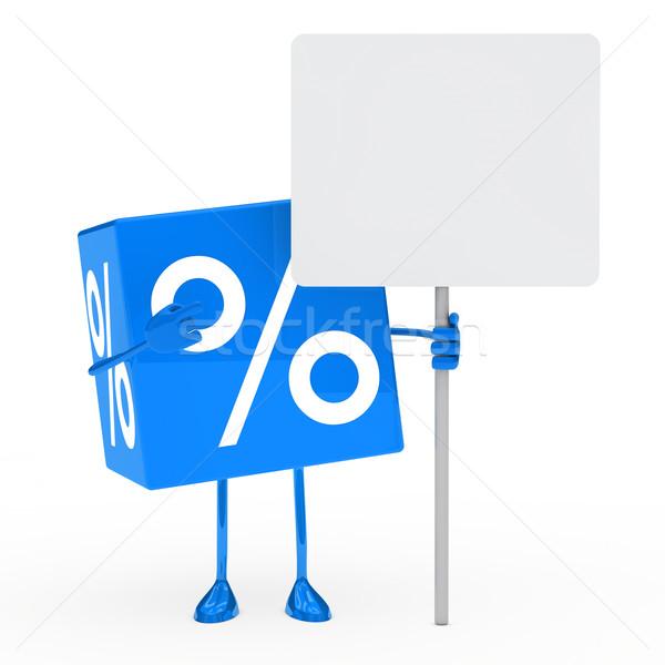 Kék vásár kocka óriásplakát előadás pénz Stock fotó © dariusl