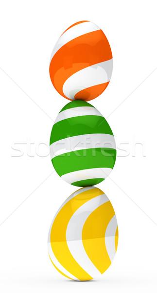 Stok fotoğraf: Renkli · paskalya · yumurtası · Paskalya · yeşil · kart