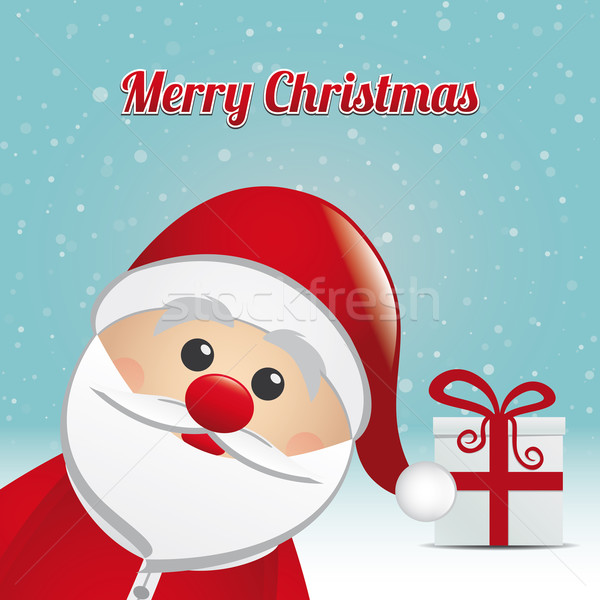 santa gift snowy winter background Stock photo © dariusl