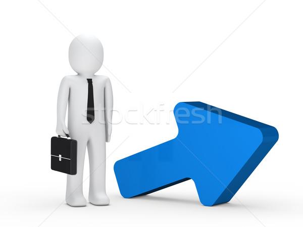 Stock foto: Geschäftsmann · Aktentasche · blau · arrow · stehen · nächsten