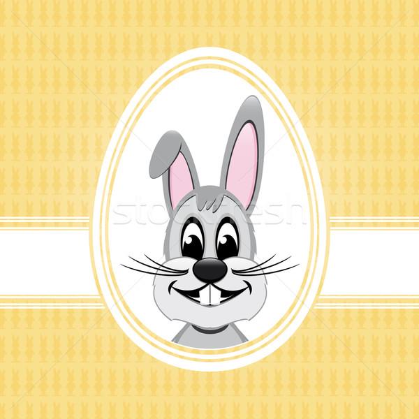 Iyi paskalyalar tavşan beyaz yumurta sarı Paskalya Stok fotoğraf © dariusl