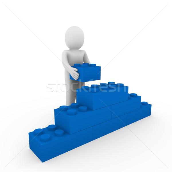 Stockfoto: Blauw · muur · steen · kubus · puzzel