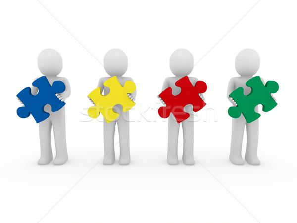 3D 男性 パズル チームワーク 赤 青 ストックフォト © dariusl