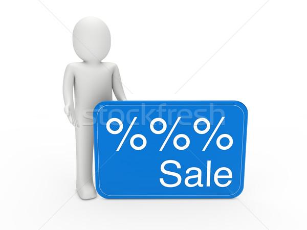 Hombre 3d venta tarjeta azul regalo por ciento Foto stock © dariusl