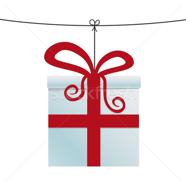 white red gift hanging on twine Stock photo © dariusl