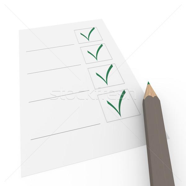 Stock photo: 3d check box gray pencil