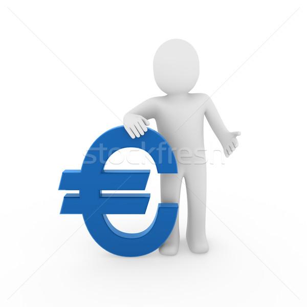 Stockfoto: Euro · financieren · Blauw · succes · symbool