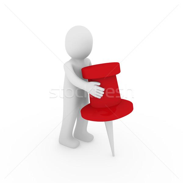 3d ember férfi piros rajzszeg üzlet jegyzet Stock fotó © dariusl