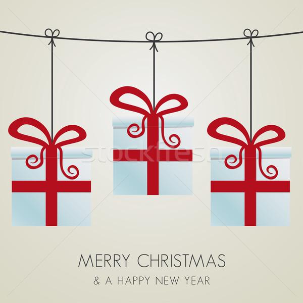 Ajándékdobozok akasztás zsinór karácsony háttér doboz Stock fotó © dariusl