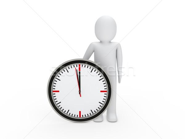 Foto stock: O · homem · 3d · ver · vermelho · tempo · relógio · contagem · regressiva