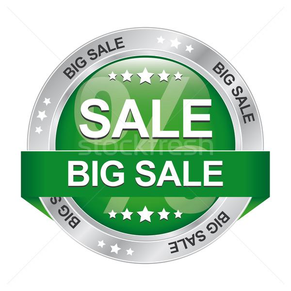 Büyük satış yeşil gümüş düğme yalıtılmış Stok fotoğraf © dariusl