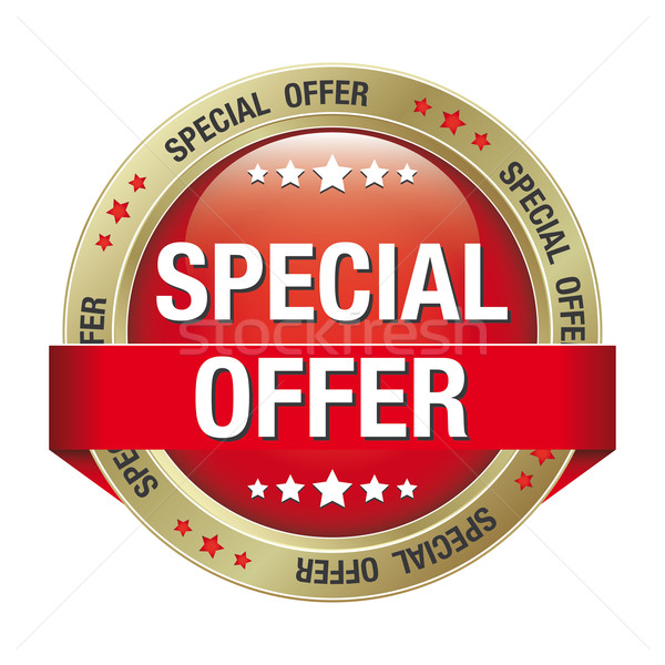special offer red gold button Stock photo © dariusl
