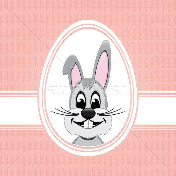 Iyi paskalyalar tavşan beyaz yumurta pembe Paskalya Stok fotoğraf © dariusl